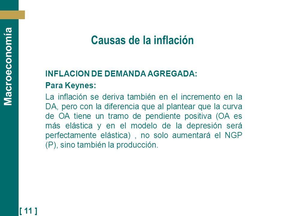 [ 11 ] Macroeconomía Causas de la inflación INFLACION DE DEMANDA AGREGADA: Para Keynes: La inflación se deriva también en el incremento en la DA, pero