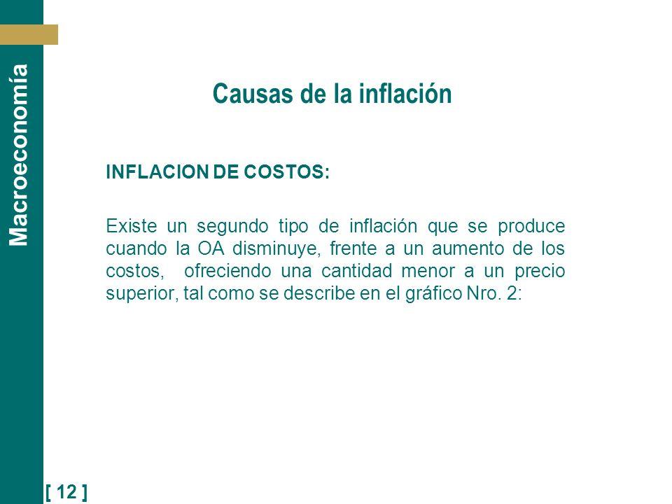 [ 12 ] Macroeconomía Causas de la inflación INFLACION DE COSTOS: Existe un segundo tipo de inflación que se produce cuando la OA disminuye, frente a u