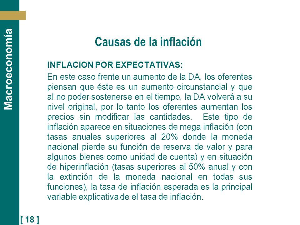 [ 18 ] Macroeconomía Causas de la inflación INFLACION POR EXPECTATIVAS: En este caso frente un aumento de la DA, los oferentes piensan que éste es un