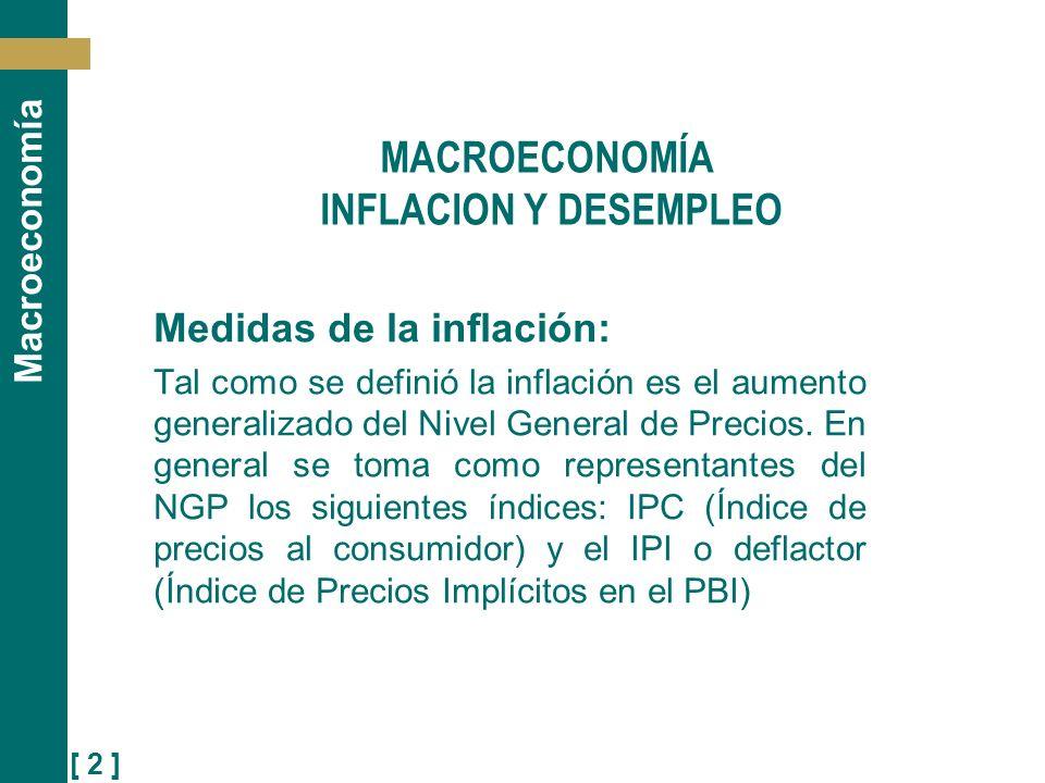 [ 3 ] Macroeconomía Medidas de la inflación: IPC: Es un índice de precios de tipo Laspeyres, que fija la canasta de bienes y servicios consumidos por el consumidor urbano representativo en el año base (qo) a los precios del año base (po) y a los precios del periodo considerado (p1).