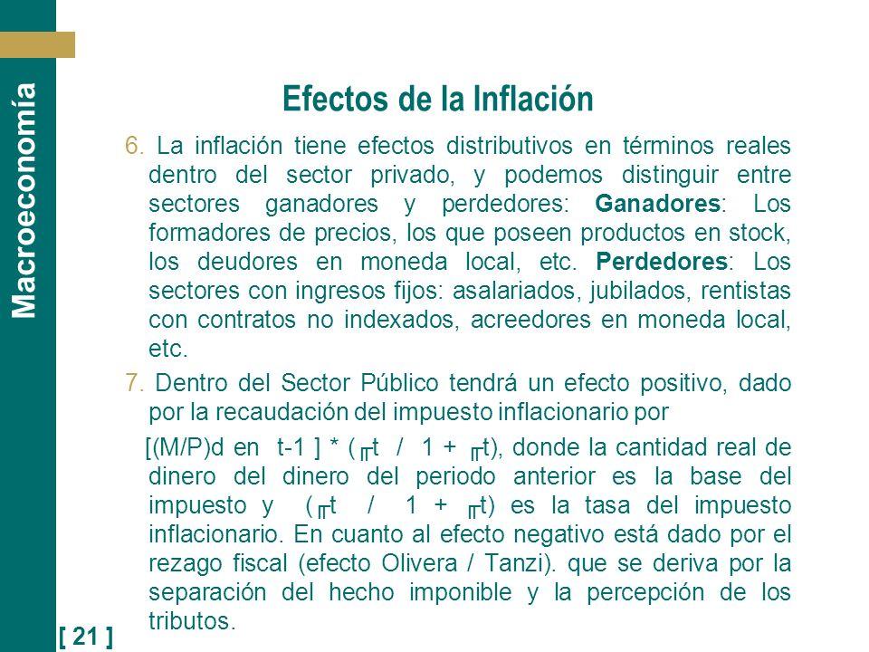 [ 21 ] Macroeconomía Efectos de la Inflación 6. La inflación tiene efectos distributivos en términos reales dentro del sector privado, y podemos disti