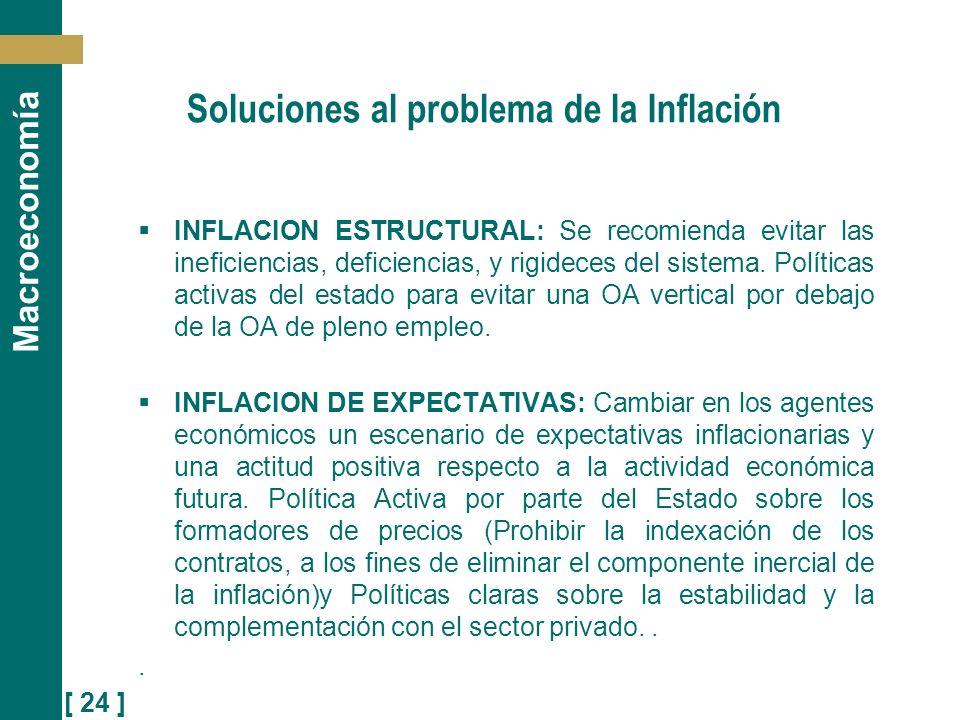 [ 24 ] Macroeconomía Soluciones al problema de la Inflación INFLACION ESTRUCTURAL: Se recomienda evitar las ineficiencias, deficiencias, y rigideces d