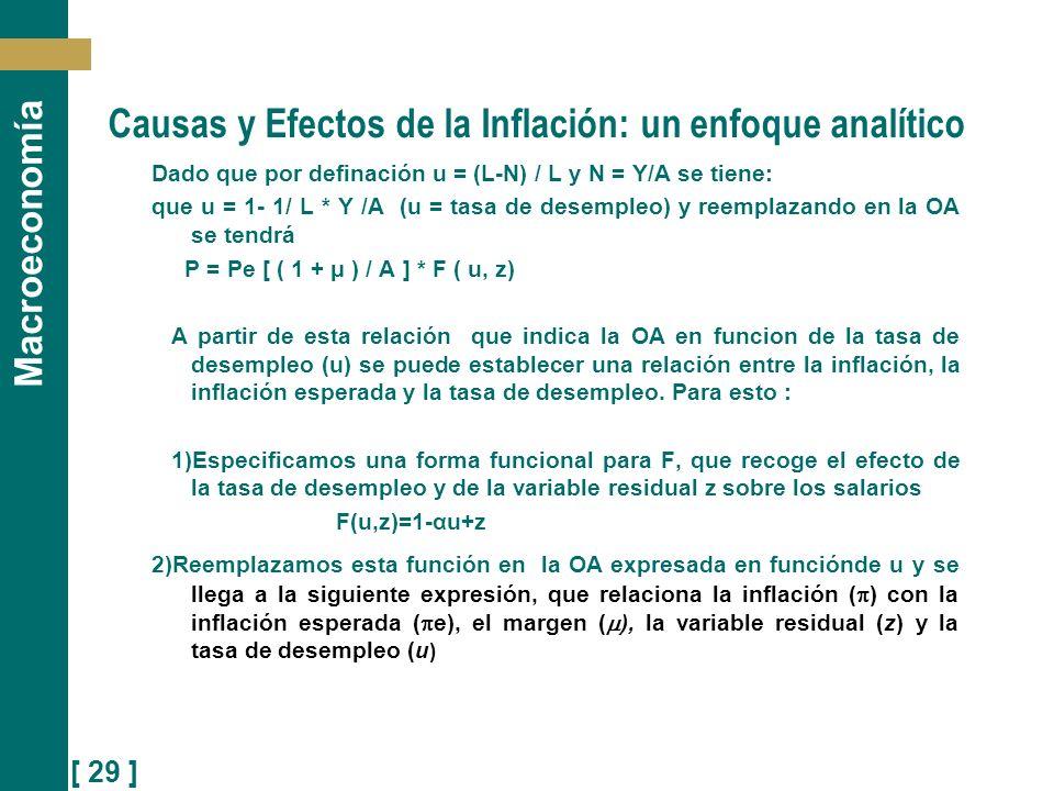 [ 29 ] Macroeconomía Causas y Efectos de la Inflación: un enfoque analítico Dado que por definación u = (L-N) / L y N = Y/A se tiene: que u = 1- 1/ L