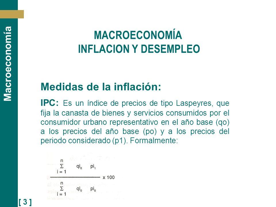 [ 4 ] Macroeconomía La inflación medida por el IPC es la tasa de variación porcentual que experimenta este índice en el periodo de tiempo considerado: t = IPC t - IPC t-1 IPC t-1 x 100 MACROECONOMÍA INFLACION Y DESEMPLEO
