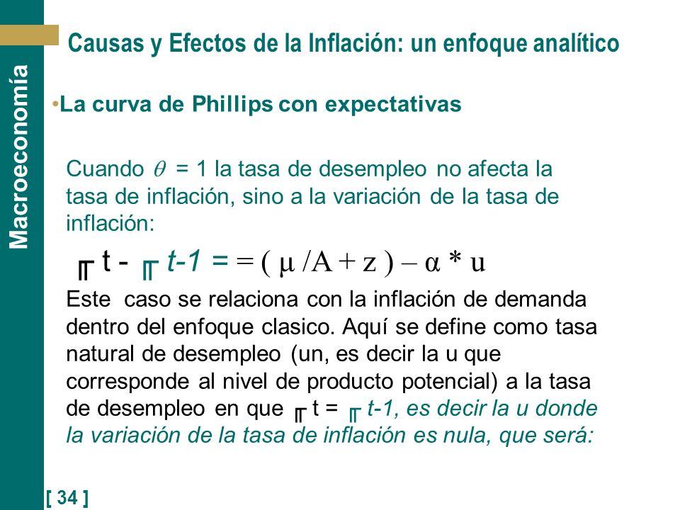 [ 34 ] Macroeconomía Causas y Efectos de la Inflación: un enfoque analítico La curva de Phillips con expectativas Cuando = 1 la tasa de desempleo no a