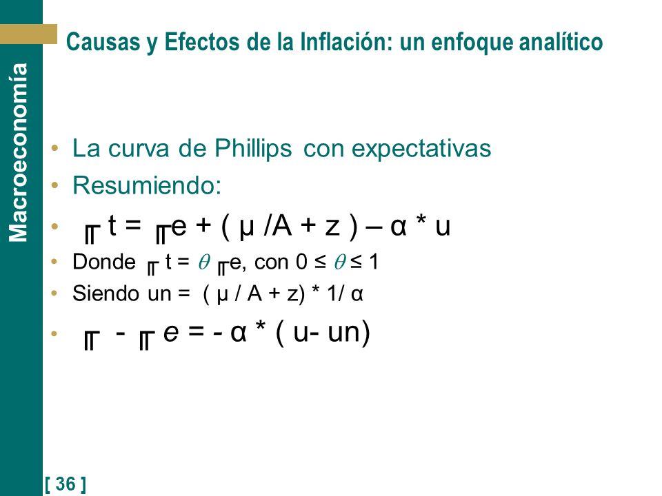 [ 36 ] Macroeconomía Causas y Efectos de la Inflación: un enfoque analítico La curva de Phillips con expectativas Resumiendo: t = e + ( μ /A + z ) – α