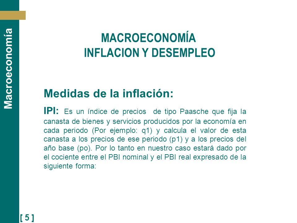 [ 5 ] Macroeconomía Medidas de la inflación: IPI: Es un índice de precios de tipo Paasche que fija la canasta de bienes y servicios producidos por la