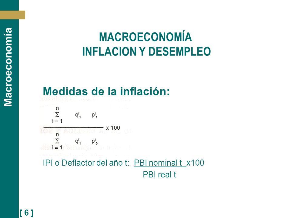 [ 6 ] Macroeconomía Medidas de la inflación: IPI o Deflactor del año t: PBI nominal t x100 PBI real t MACROECONOMÍA INFLACION Y DESEMPLEO