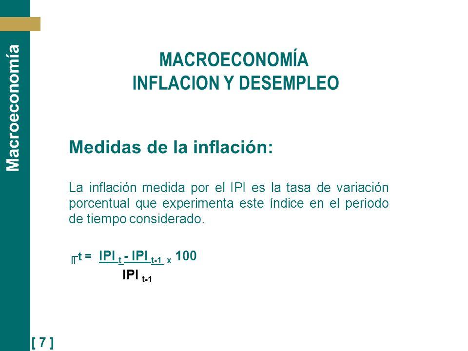 [ 8 ] Macroeconomía MACROECONOMÍA CAPÍTULO XI: INFLACIÓN Y DESEMPLEO Medidas de la inflación: Resumiendo El IPI o deflactor P es un índice de los bienes producidos por la economía y que sirve por lo tanto para convertir una variable nominal en real.