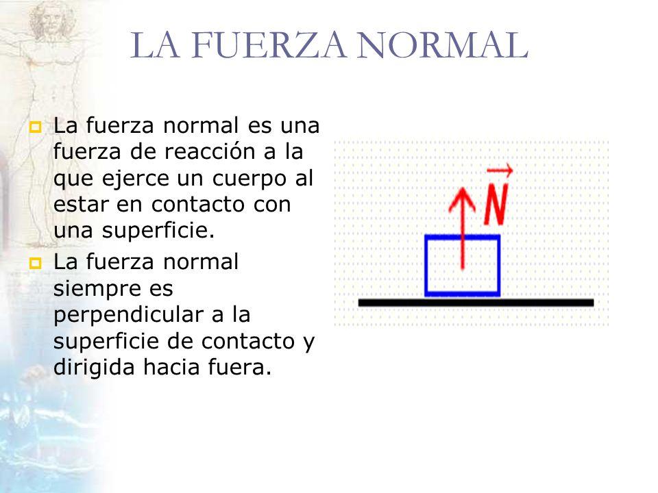 LA FUERZA NORMAL La fuerza normal es una fuerza de reacción a la que ejerce un cuerpo al estar en contacto con una superficie. La fuerza normal siempr