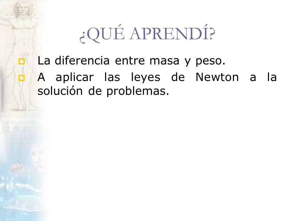 ¿QUÉ APRENDÍ? La diferencia entre masa y peso. A aplicar las leyes de Newton a la solución de problemas.