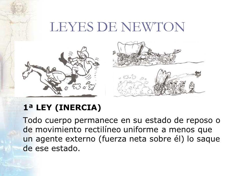 LEYES DE NEWTON 1ª LEY (INERCIA) Todo cuerpo permanece en su estado de reposo o de movimiento rectilíneo uniforme a menos que un agente externo (fuerz