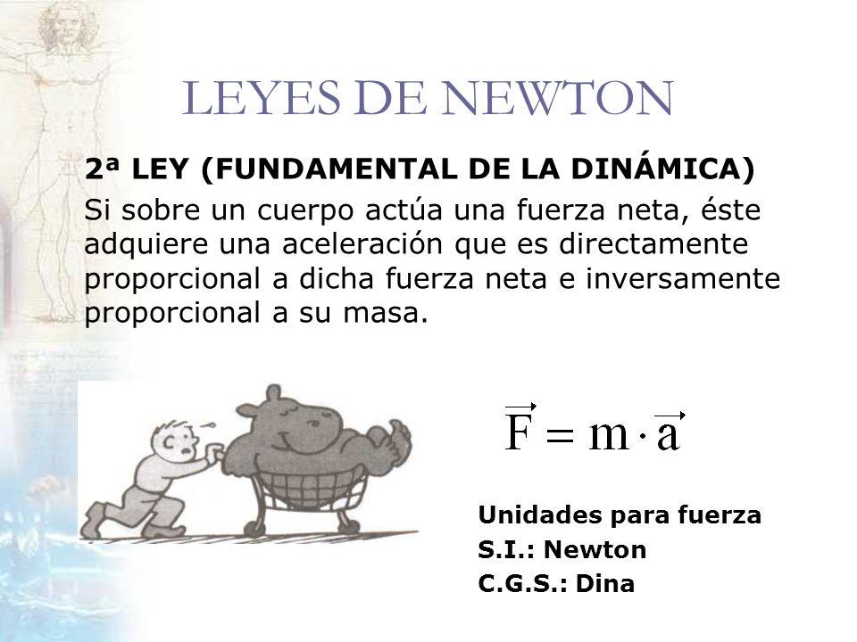 LEYES DE NEWTON 2ª LEY (FUNDAMENTAL DE LA DINÁMICA) Si sobre un cuerpo actúa una fuerza neta, éste adquiere una aceleración que es directamente propor
