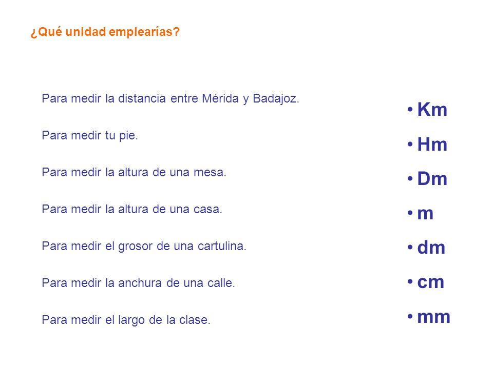 ¿Qué unidad emplearías? Para medir la distancia entre Mérida y Badajoz. Para medir tu pie. Para medir la altura de una mesa. Para medir la altura de u