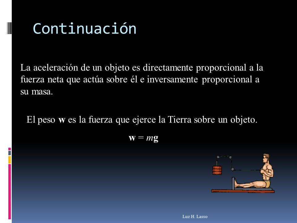 La aceleración de un objeto es directamente proporcional a la fuerza neta que actúa sobre él e inversamente proporcional a su masa. El peso w es la fu