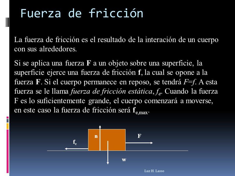 Fuerza de fricción Luz H. Lasso La fuerza de fricción es el resultado de la interación de un cuerpo con sus alrededores. Si se aplica una fuerza F a u
