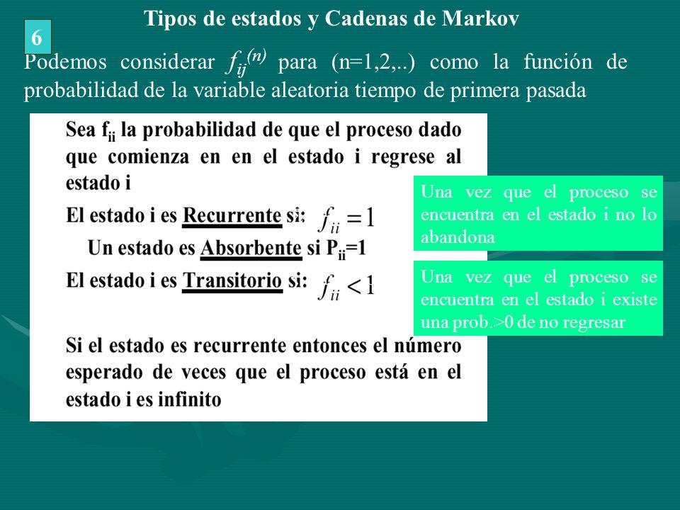 (n) Podemos considerar f ij (n) para (n=1,2,..) como la función de probabilidad de la variable aleatoria tiempo de primera pasada Una vez que el proce