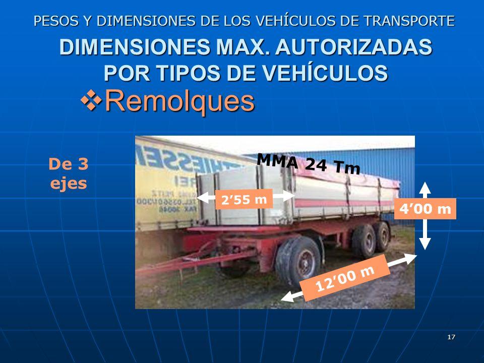 16 PESOS Y DIMENSIONES DE LOS VEHÍCULOS DE TRANSPORTE DIMENSIONES MAX. AUTORIZADAS POR TIPOS DE VEHÍCULOS Remolques Remolques 1200 m 400 m De 2 ejes M