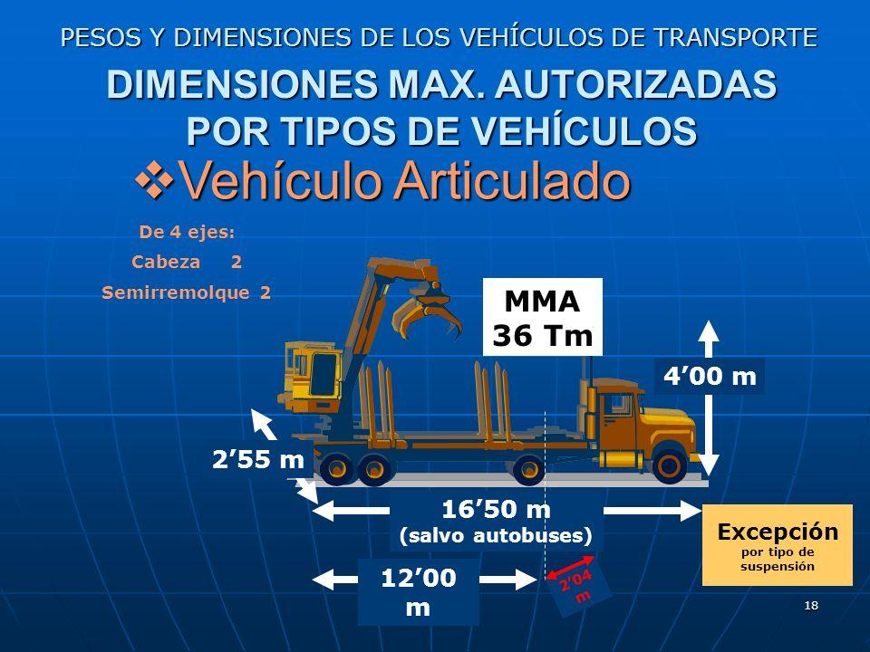 17 PESOS Y DIMENSIONES DE LOS VEHÍCULOS DE TRANSPORTE DIMENSIONES MAX. AUTORIZADAS POR TIPOS DE VEHÍCULOS Remolques Remolques 1200 m 400 m De 3 ejes M