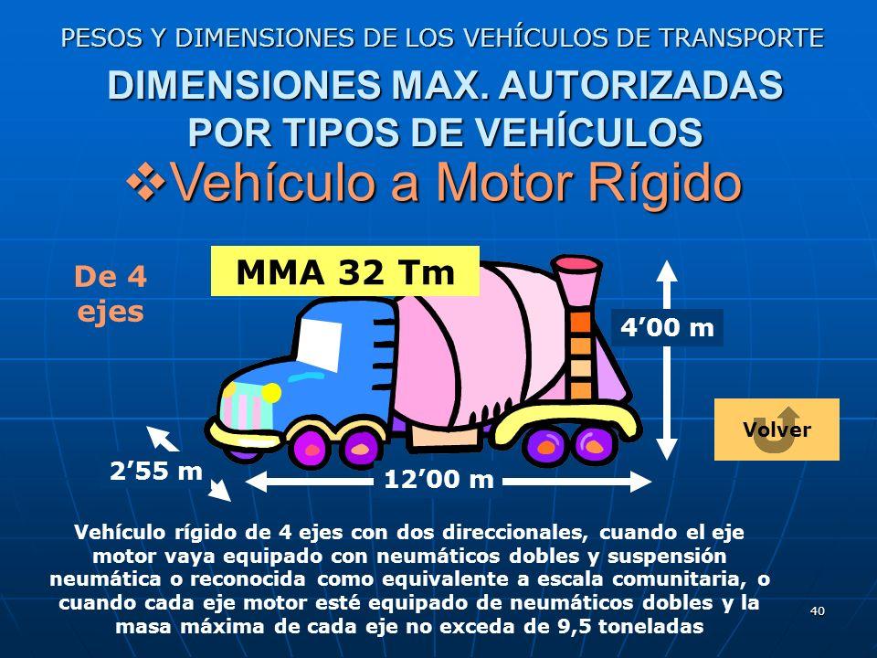 39 PESOS Y DIMENSIONES DE LOS VEHÍCULOS DE TRANSPORTE DIMENSIONES MAX. AUTORIZADAS POR TIPOS DE VEHÍCULOS Vehículo a Motor Rígido Vehículo a Motor Ríg