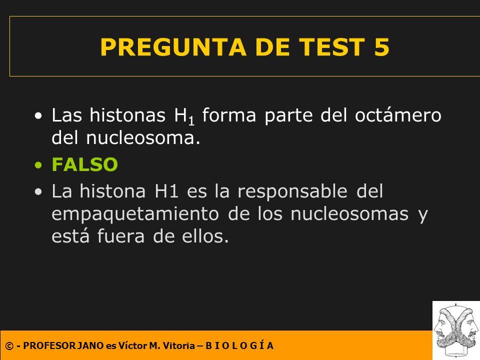 © - PROFESOR JANO es Víctor M. Vitoria – B I O L O G Í A PREGUNTA DE TEST 5 Las histonas H 1 forma parte del octámero del nucleosoma. FALSO La histona