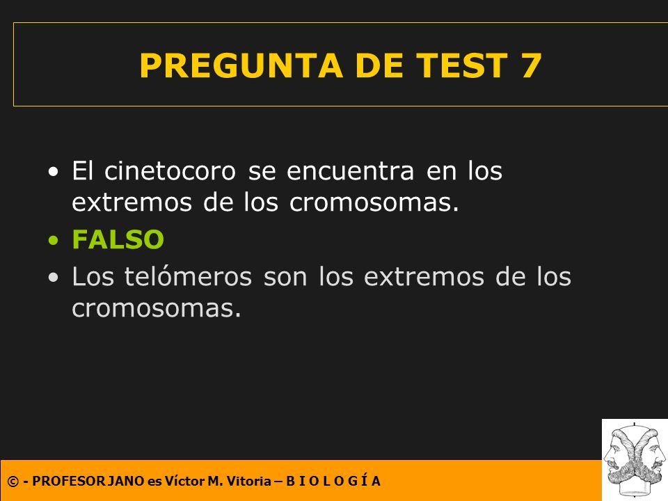 © - PROFESOR JANO es Víctor M. Vitoria – B I O L O G Í A PREGUNTA DE TEST 7 El cinetocoro se encuentra en los extremos de los cromosomas. FALSO Los te