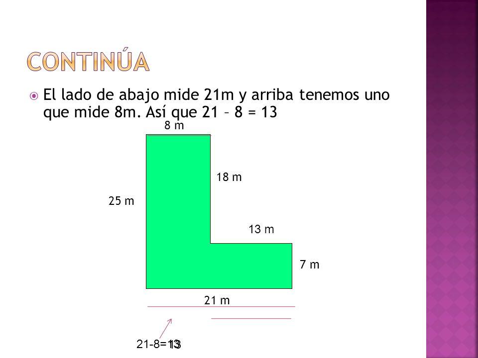 El lado de abajo mide 21m y arriba tenemos uno que mide 8m. Así que 21 – 8 = 13 8 m 21 m 25 m 7 m 18 m 21-8=13 13 13 m
