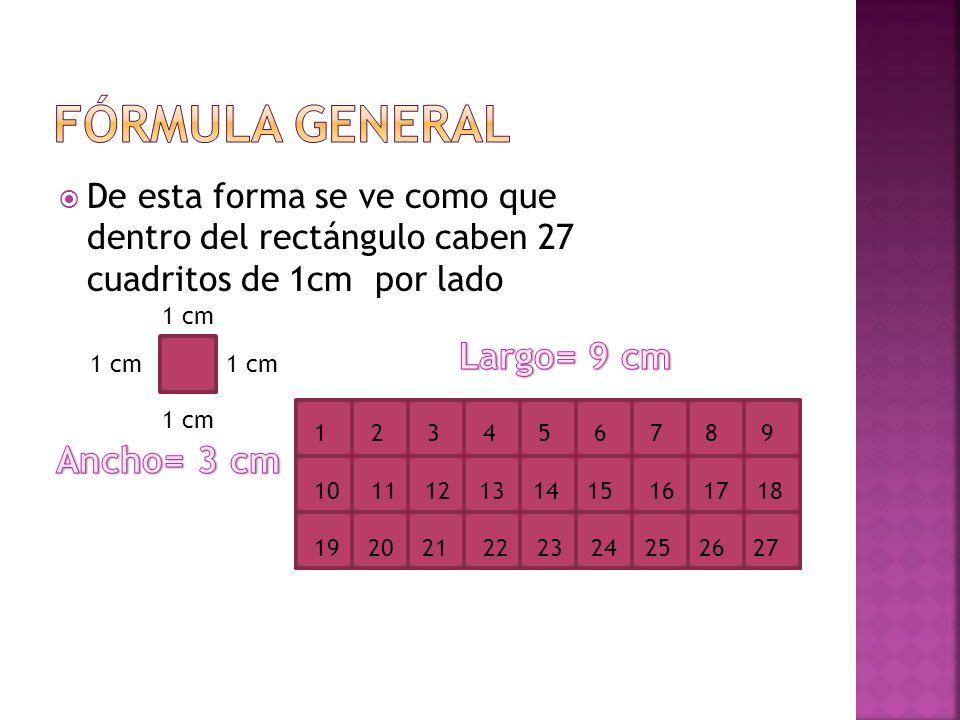 De esta forma se ve como que dentro del rectángulo caben 27 cuadritos de 1cm por lado 1 cm 1 2 3 4 5 6 7 8 9 10 11 12 13 14 15 16 17 18 19 20 21 22 23