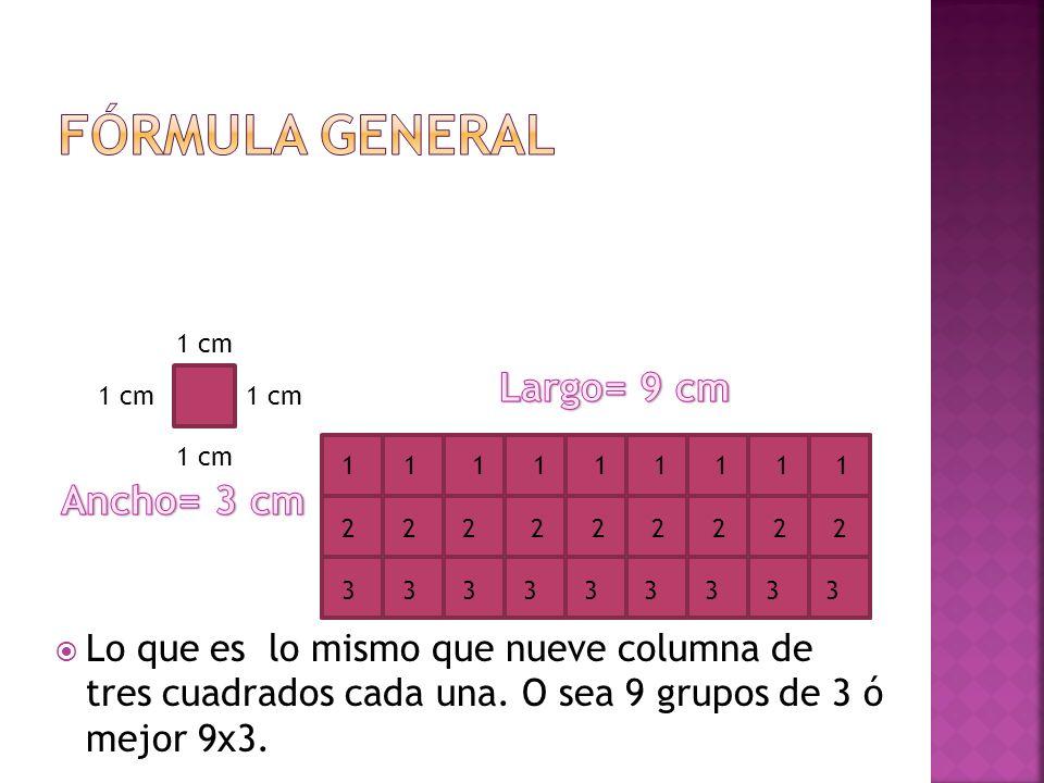 1 cm 1 1 1 1 1 1 1 1 1 2 2 2 2 2 2 2 2 2 3 3 3 3 3 3 3 3 3 Lo que es lo mismo que nueve columna de tres cuadrados cada una. O sea 9 grupos de 3 ó mejo