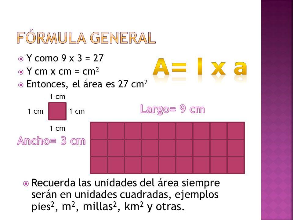 Y como 9 x 3 = 27 Y cm x = cm 2 Entonces, el área es 27 cm 2 1 cm Recuerda las unidades del área siempre serán en unidades cuadradas, ejemplos pies 2,
