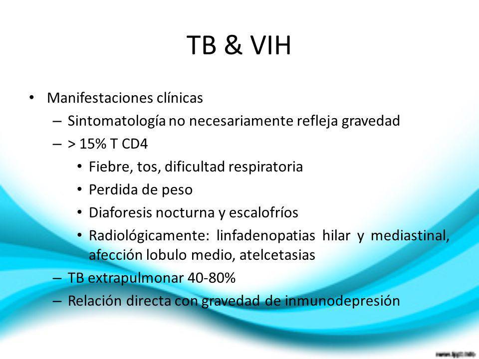 TB & VIH Manifestaciones clínicas – Sintomatología no necesariamente refleja gravedad – > 15% T CD4 Fiebre, tos, dificultad respiratoria Perdida de pe