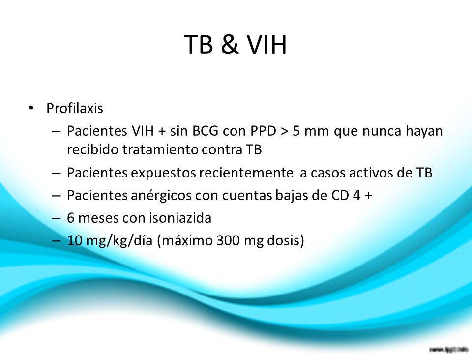 TB & VIH Profilaxis – Pacientes VIH + sin BCG con PPD > 5 mm que nunca hayan recibido tratamiento contra TB – Pacientes expuestos recientemente a caso