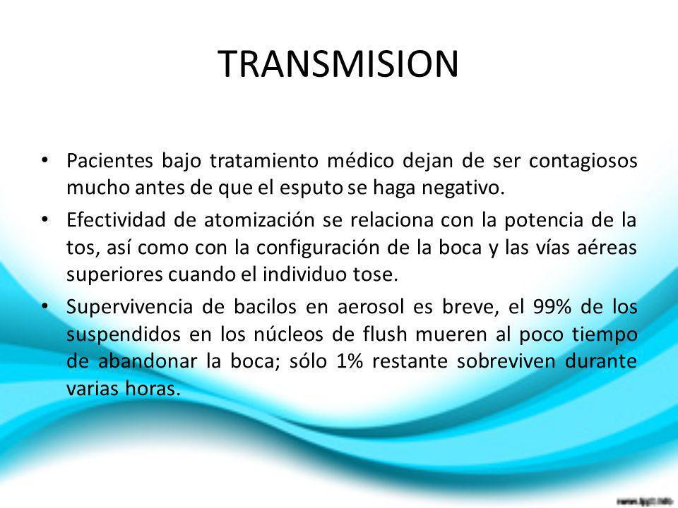 TRANSMISION Pacientes bajo tratamiento médico dejan de ser contagiosos mucho antes de que el esputo se haga negativo. Efectividad de atomización se re