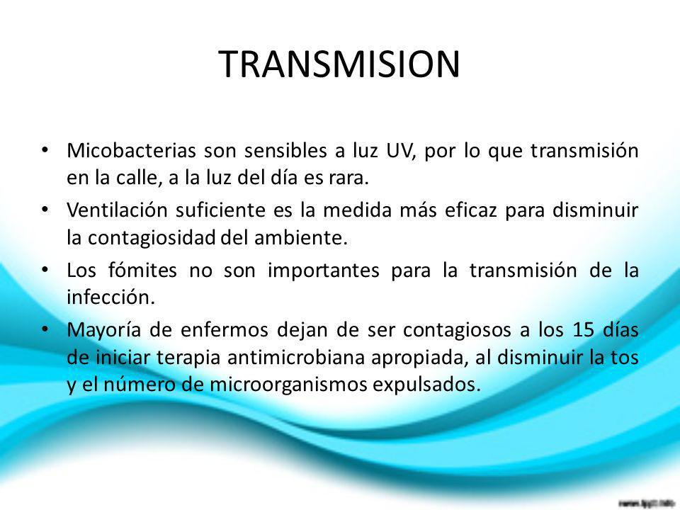 TRANSMISION Micobacterias son sensibles a luz UV, por lo que transmisión en la calle, a la luz del día es rara. Ventilación suficiente es la medida má