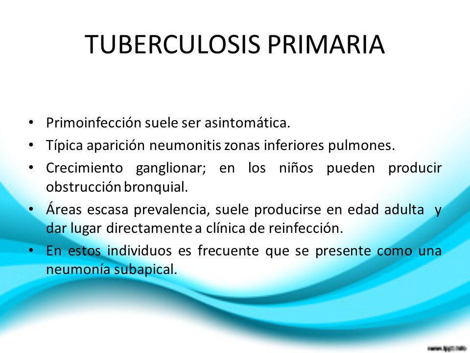 TUBERCULOSIS PRIMARIA Primoinfección suele ser asintomática. Típica aparición neumonitis zonas inferiores pulmones. Crecimiento ganglionar; en los niñ