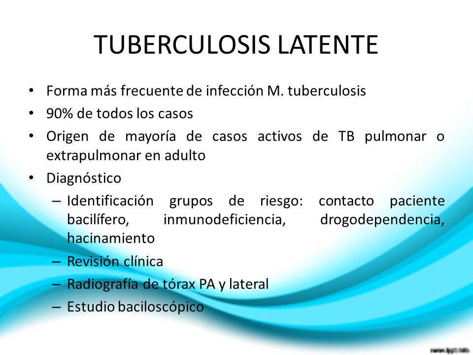 TUBERCULOSIS LATENTE Forma más frecuente de infección M. tuberculosis 90% de todos los casos Origen de mayoría de casos activos de TB pulmonar o extra