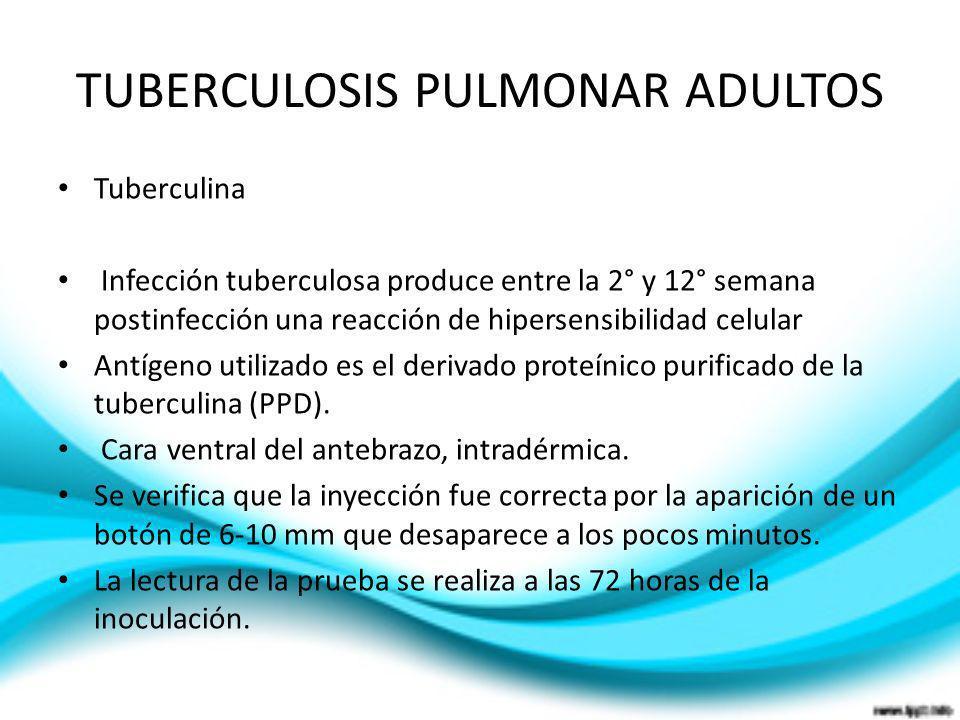 TUBERCULOSIS PULMONAR ADULTOS Tuberculina Infección tuberculosa produce entre la 2° y 12° semana postinfección una reacción de hipersensibilidad celul