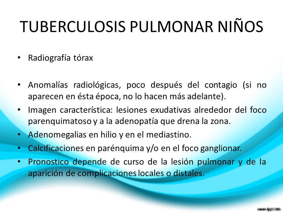 TUBERCULOSIS PULMONAR NIÑOS Radiografía tórax Anomalías radiológicas, poco después del contagio (si no aparecen en ésta época, no lo hacen más adelant