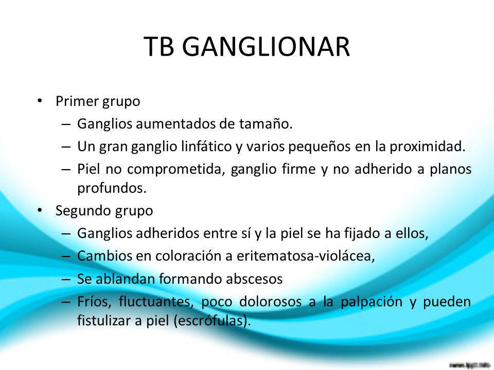 TB GANGLIONAR Primer grupo – Ganglios aumentados de tamaño. – Un gran ganglio linfático y varios pequeños en la proximidad. – Piel no comprometida, ga