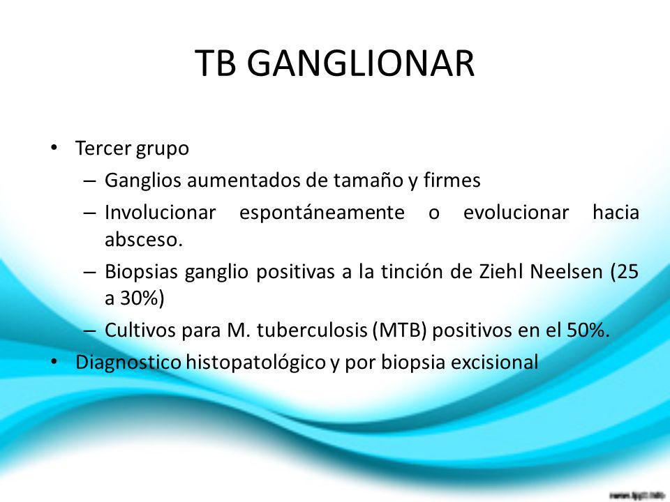 TB GANGLIONAR Tercer grupo – Ganglios aumentados de tamaño y firmes – Involucionar espontáneamente o evolucionar hacia absceso. – Biopsias ganglio pos