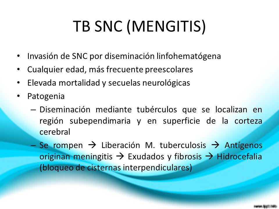 TB SNC (MENGITIS) Invasión de SNC por diseminación linfohematógena Cualquier edad, más frecuente preescolares Elevada mortalidad y secuelas neurológic