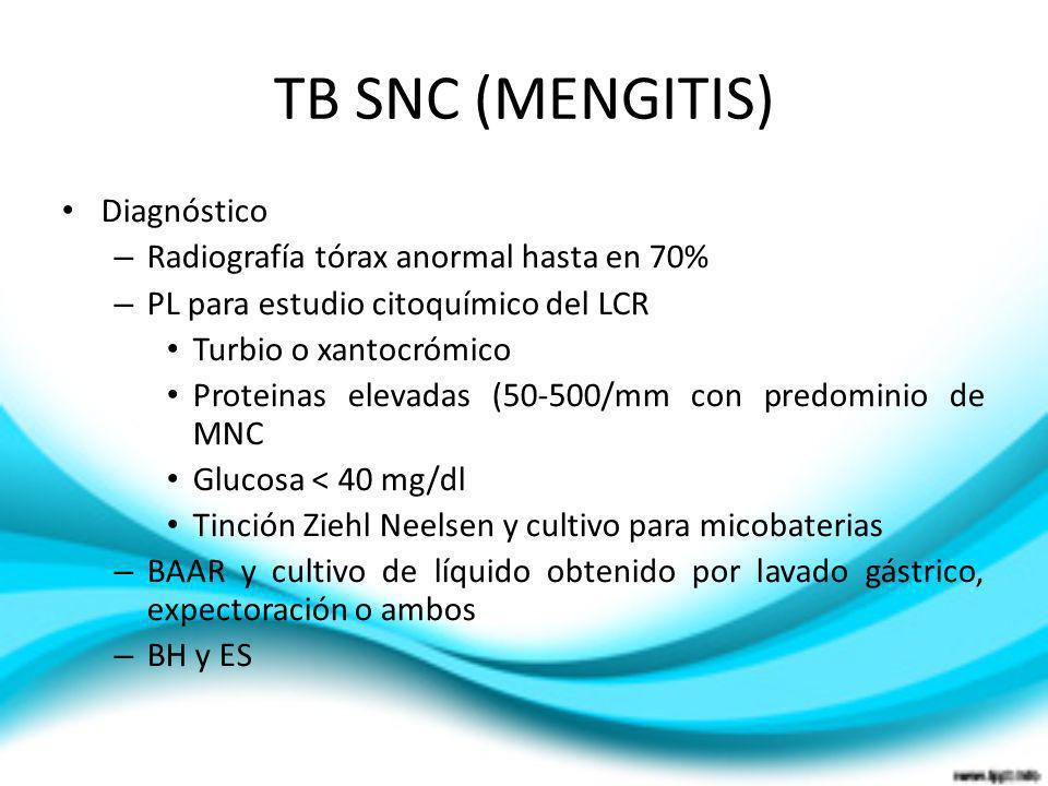 TB SNC (MENGITIS) Diagnóstico – Radiografía tórax anormal hasta en 70% – PL para estudio citoquímico del LCR Turbio o xantocrómico Proteinas elevadas