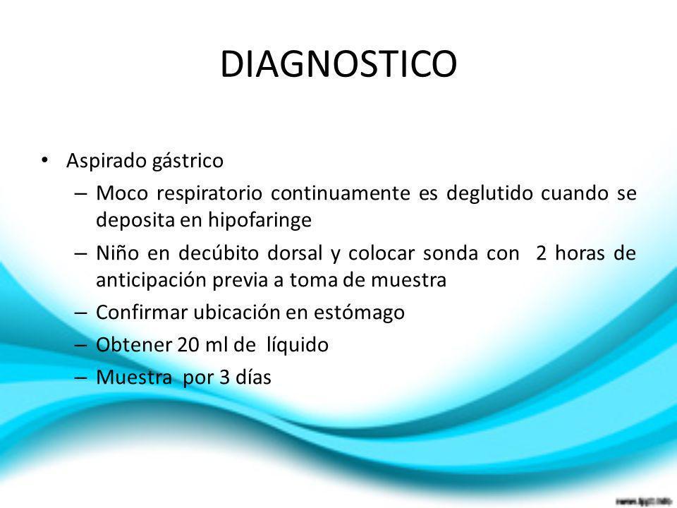 DIAGNOSTICO Aspirado gástrico – Moco respiratorio continuamente es deglutido cuando se deposita en hipofaringe – Niño en decúbito dorsal y colocar son