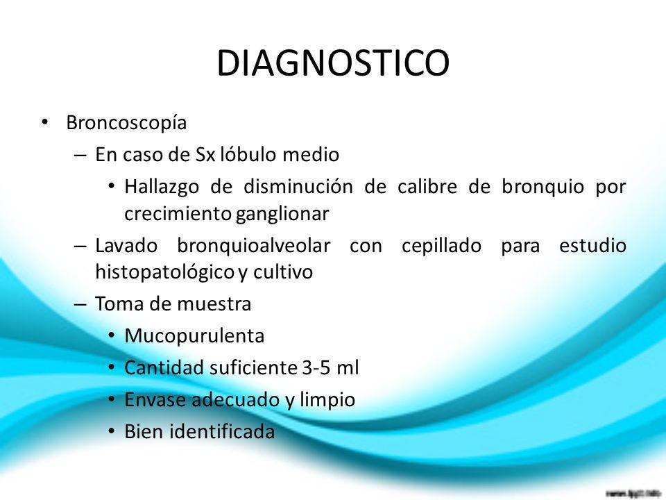 DIAGNOSTICO Broncoscopía – En caso de Sx lóbulo medio Hallazgo de disminución de calibre de bronquio por crecimiento ganglionar – Lavado bronquioalveo