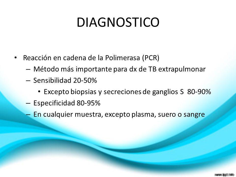 DIAGNOSTICO Reacción en cadena de la Polimerasa (PCR) – Método más importante para dx de TB extrapulmonar – Sensibilidad 20-50% Excepto biopsias y sec