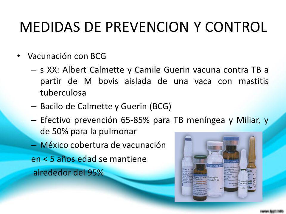 MEDIDAS DE PREVENCION Y CONTROL Vacunación con BCG – s XX: Albert Calmette y Camile Guerin vacuna contra TB a partir de M bovis aislada de una vaca co