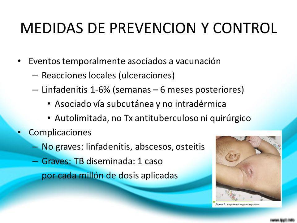 MEDIDAS DE PREVENCION Y CONTROL Eventos temporalmente asociados a vacunación – Reacciones locales (ulceraciones) – Linfadenitis 1-6% (semanas – 6 mese