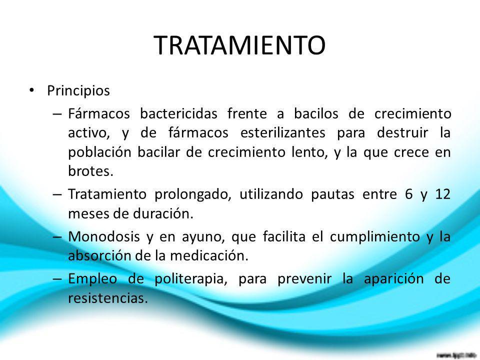 TRATAMIENTO Principios – Fármacos bactericidas frente a bacilos de crecimiento activo, y de fármacos esterilizantes para destruir la población bacilar