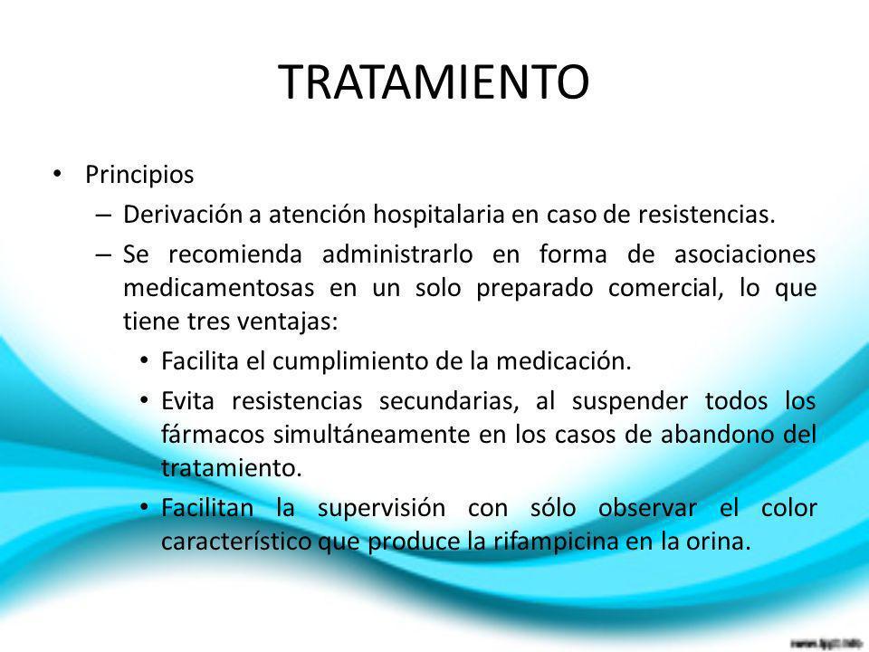 TRATAMIENTO Principios – Derivación a atención hospitalaria en caso de resistencias. – Se recomienda administrarlo en forma de asociaciones medicament