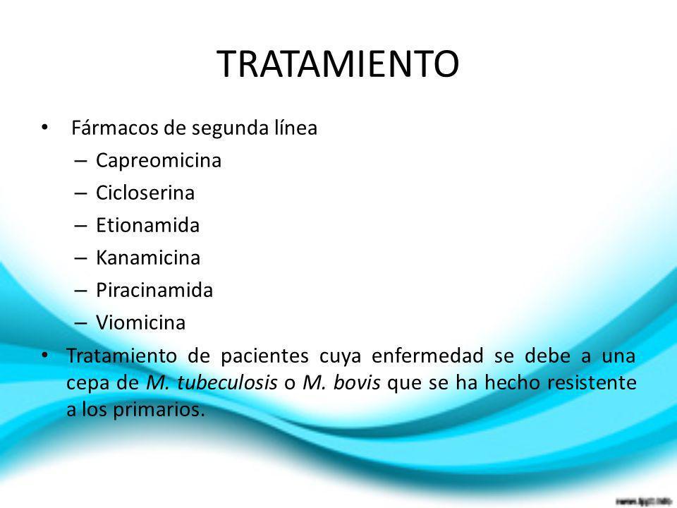 TRATAMIENTO Fármacos de segunda línea – Capreomicina – Cicloserina – Etionamida – Kanamicina – Piracinamida – Viomicina Tratamiento de pacientes cuya